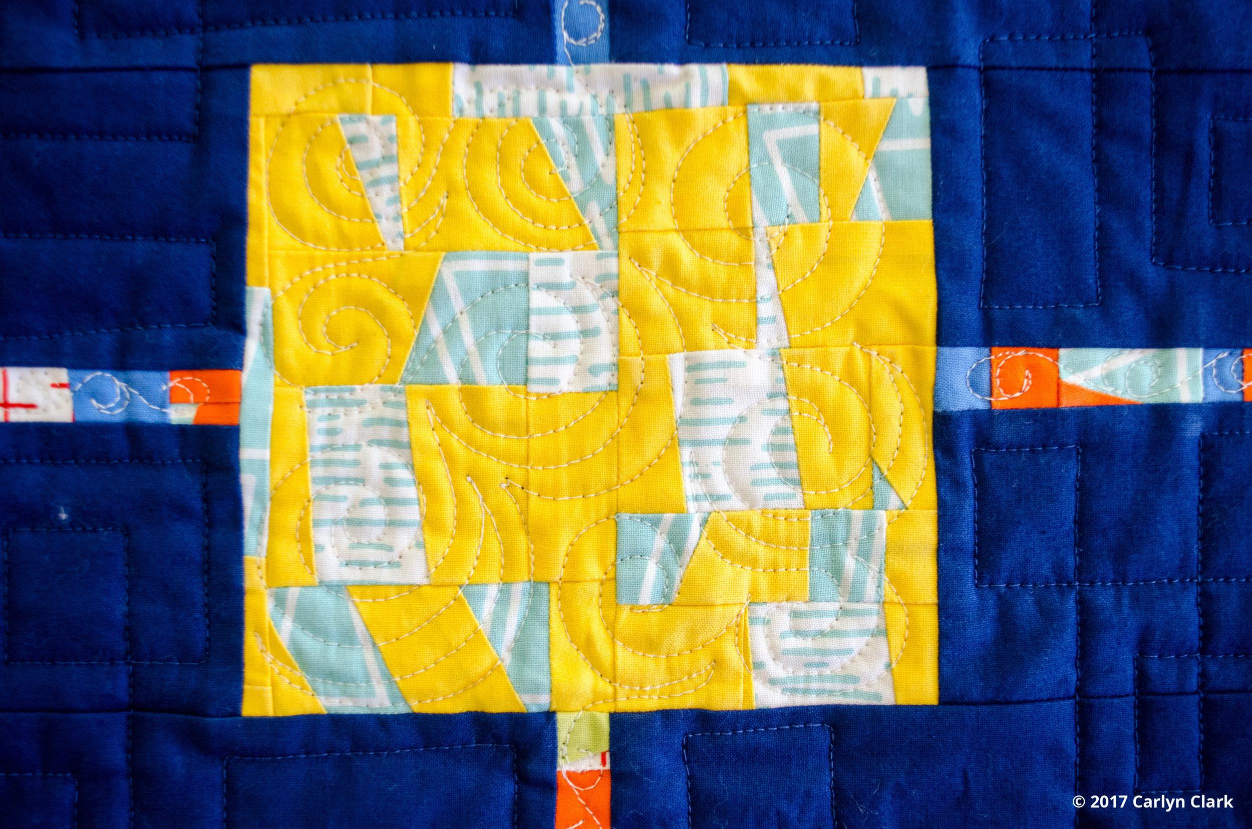 Riley Blake Rockstar prints used in improvised piecing
