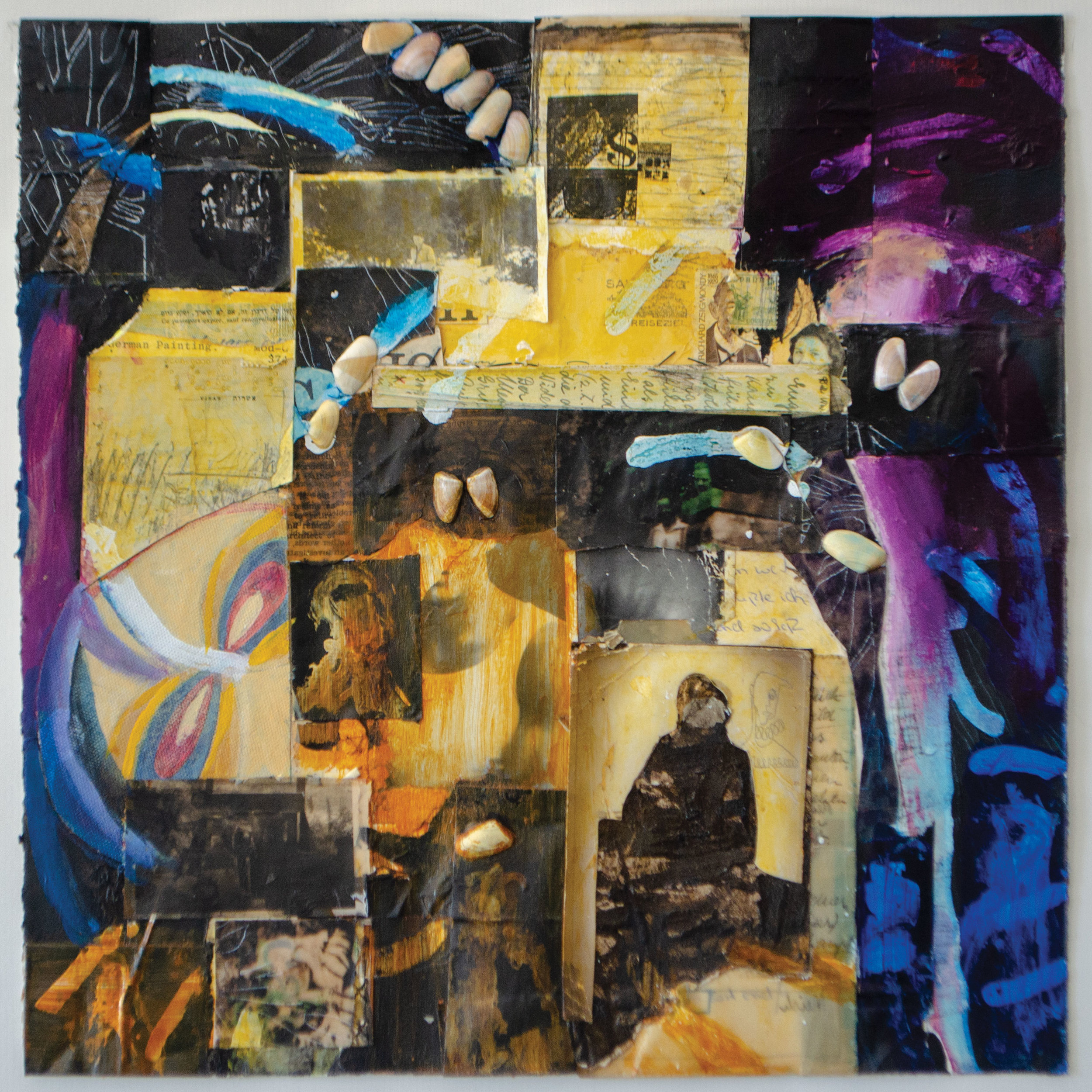 "Dark Matter, 15""x15"", mixed media: S. Portico Bowman, Carlyn Clark, Johnny Fox, Margaret Lazzari, Luke Reichle, Chris Russell Russell, Caryl St. Ama, Nancy Kay Turner"