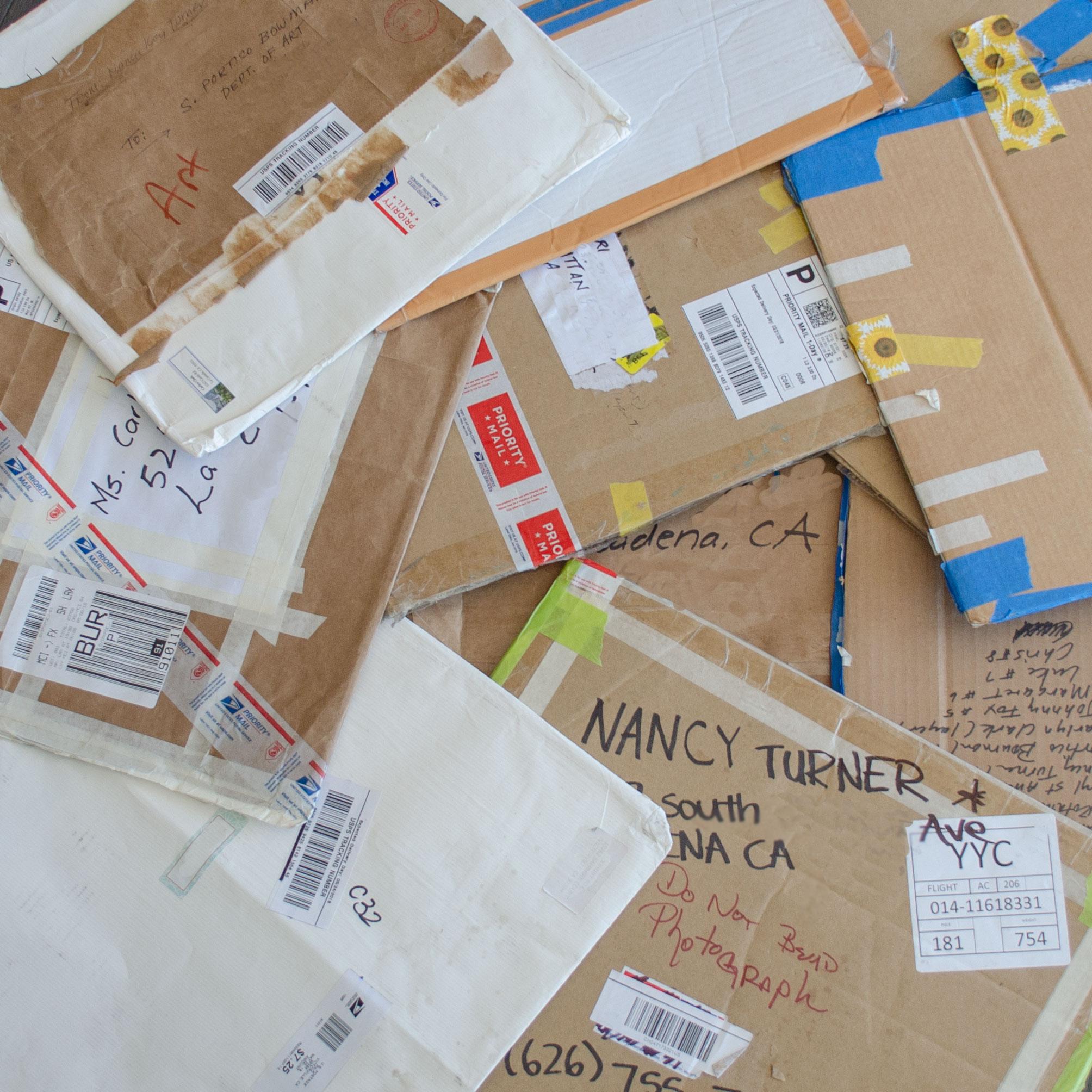 Sometimes the packaging of the artwork itself as it sped or, slogged, through the postal system became archeological as the artists layered paper and text over earlier packages.