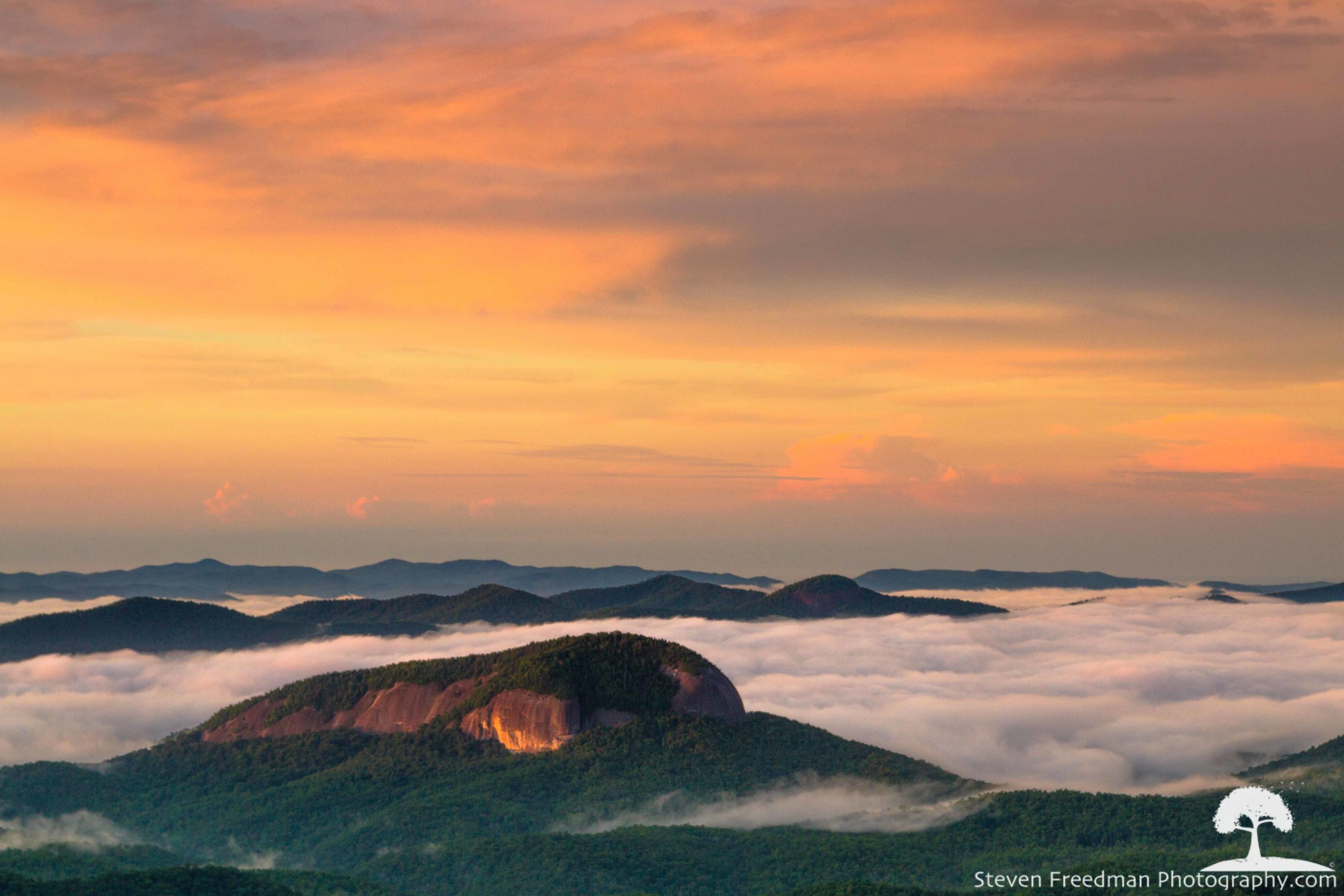 Pink Light Over Looking Glass Rock