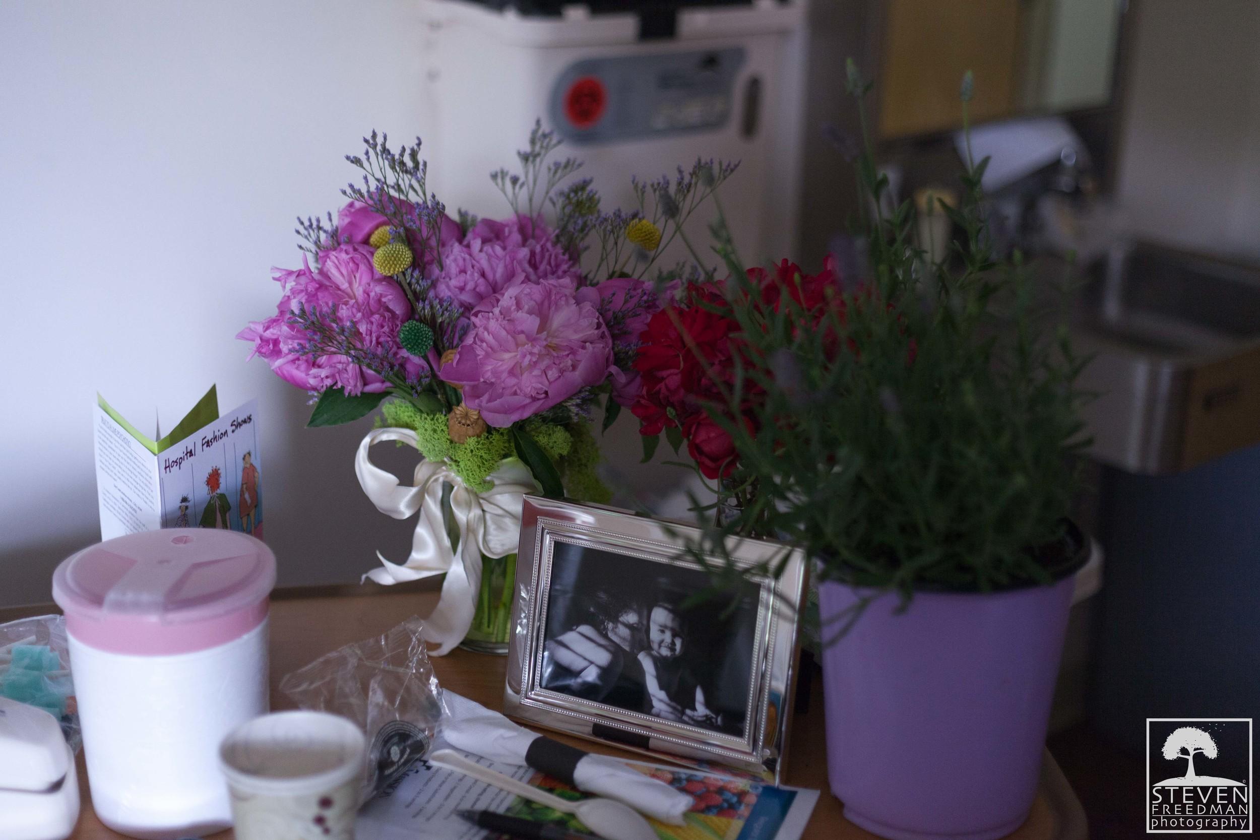 Hospital bedside table.
