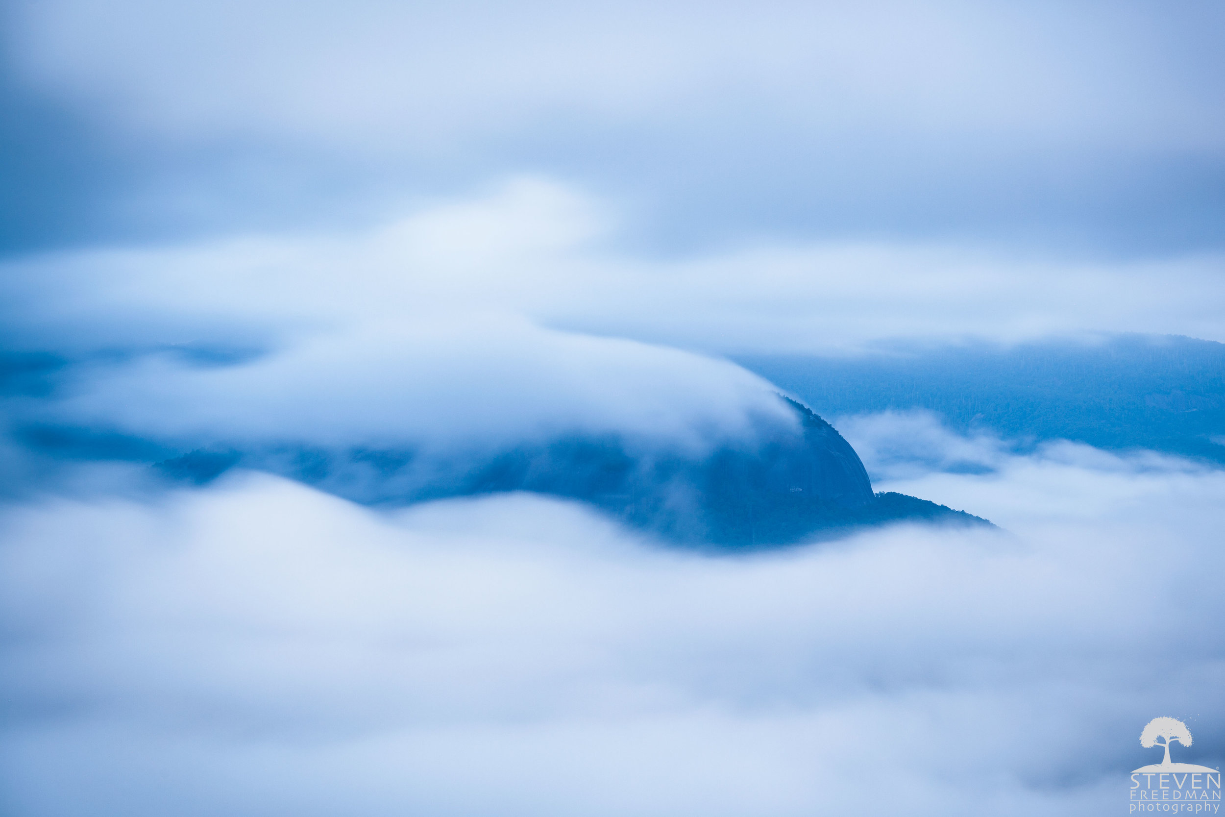 Looking Glass Rock Shrouded in Fog