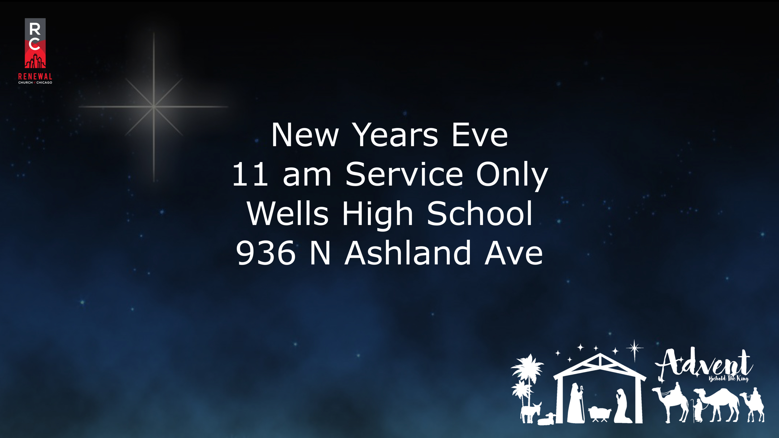 Join Renewal this New Years Eve! We will be celebrating with only one service at 11 am.  After service join us for brunch at Wells!