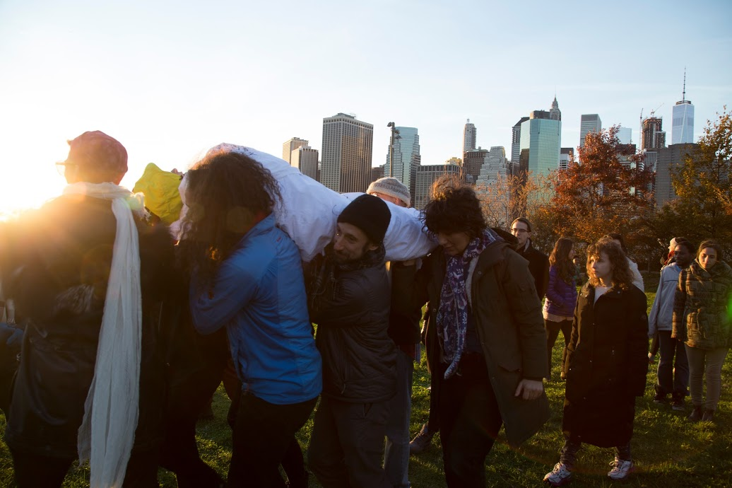 Ayden is carried through Brooklyn Bridge Park during her Odyssey. Credit Katy McCarthy.