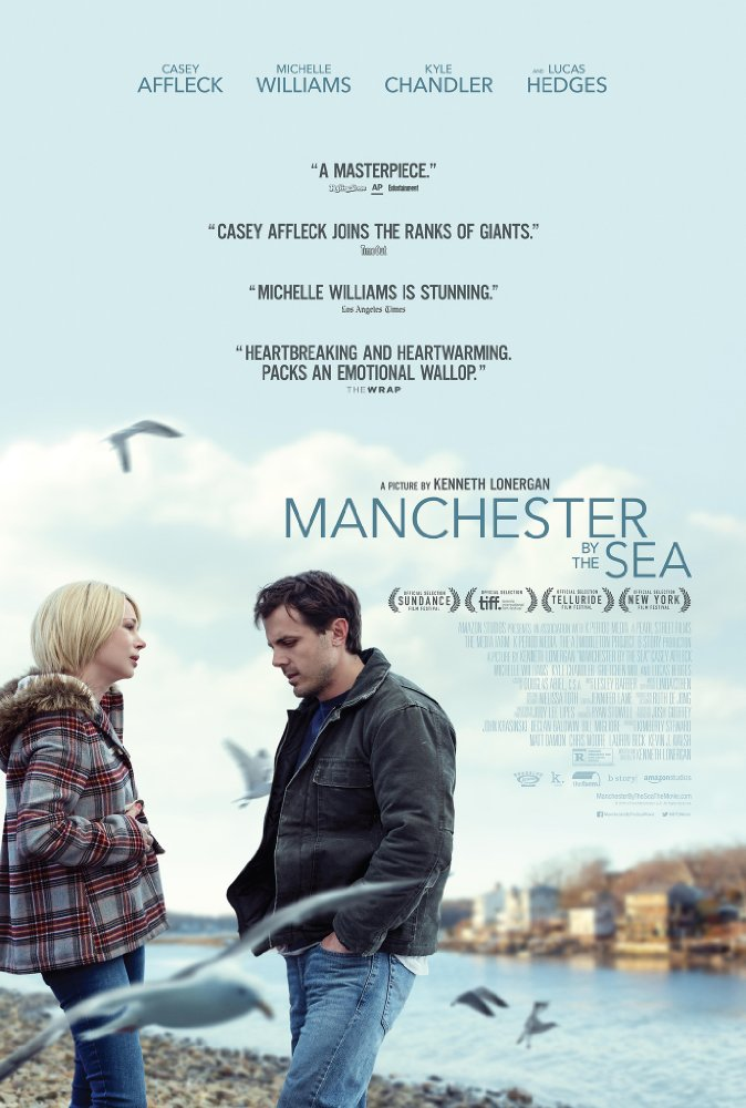 Manchester by the Sea - 2016, Directed and written by Kenneth Lonergen.The poster is misleading and doesn't feature the characters at the heart of the film, who are the uncle (Casey Affleck) and nephew (Lucas Hedges). Despite the story's tragedy, there is dry humor that sheds light on the tough fabric of the people in Manchester—the town itself being the third main character in the film.Thumbs up �