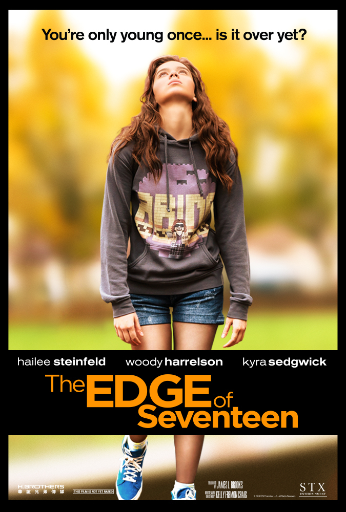 The Edge of Seventeen - 2016. Directed by Kelly Fremon Craig. Written by Kelly Fremon Craig.Coming-of-age movies are always fun ('80s = Breakfast Club/Pretty in Pink/Heathers, '90s = Clueless, '00s = Mean Girls) and in 2017, I really loved the Edge of 17. Today's darn kids have just as much neurosis, as many parental and adult relationship issues. There are hilarious lol moments, awkward moments, and the moments when you realize who's really worth loving.Hailee Steinfeld is a joy to watch.Thumbs Up ðŸ'�