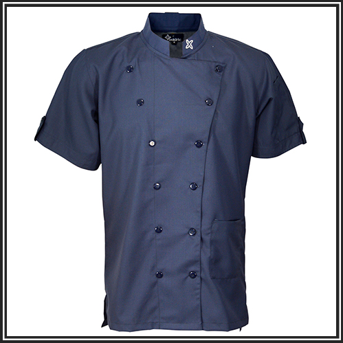 Classic Chef Jacket design double breasted and packed with functional details. Featuring a rounded mandarin collar and snap buttons for aprons. This jacket also features a pen and sharpie pocket on the left sleeve for convenience, as well as a lap pocket on the same side. A mesh fabric in the back that is stretchable and breathable.   Personalized chef jacket options available. Add additional customization and get an embroidered chef jacket with your name or logo.