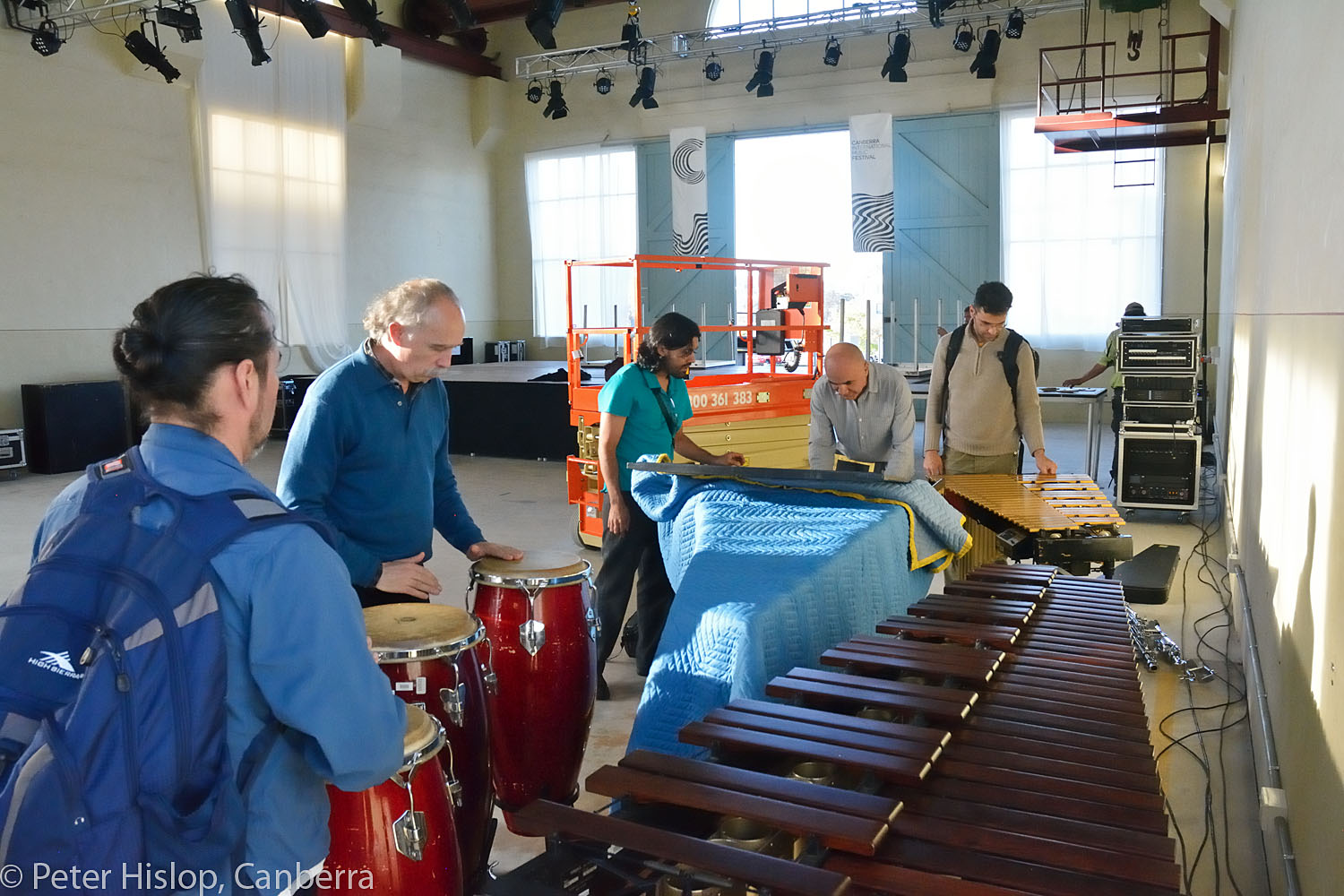 CIMF 2016 - Con 01 - Rehearsal with Tambuco Percussion. These guys got straight into practice when they arrived and were still going well after dark!