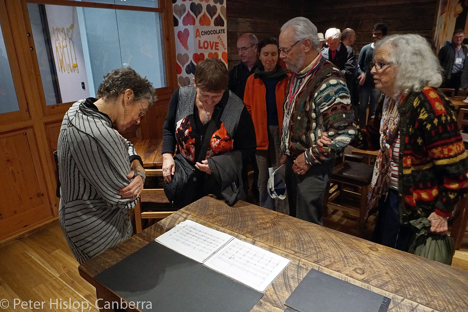CIMF 2016 - Concert 10 - Nishi Sequenza. Audience members examine how the percussion was scored.