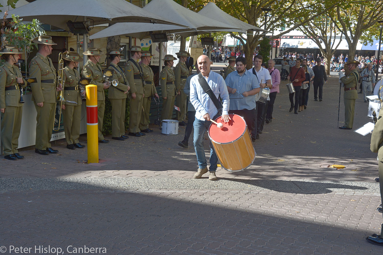 CIMF 2016 - Concert 14 - Garema Place. Tambuco Percussion and Festival Drummers parade through the RMC Band