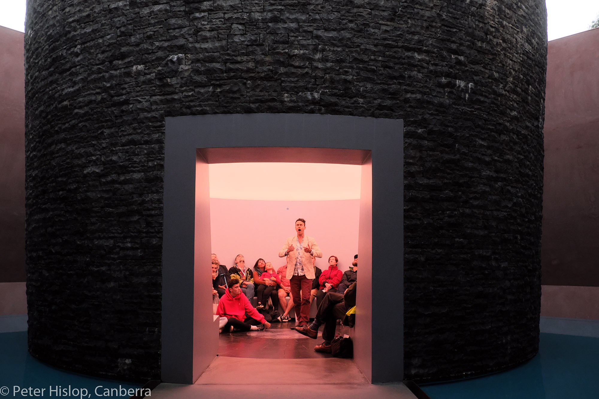 Tobias Cole in the Turrell Skyspace at the National Gallery of Australia - photo by Peter Hislop