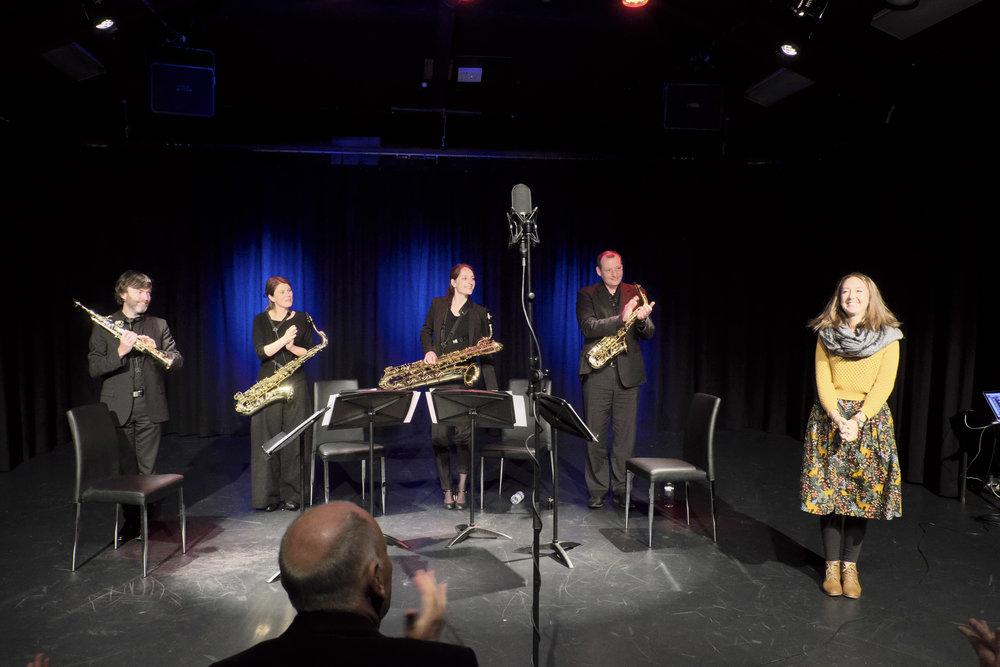 Sonic Art Saxophone Quartet and Ella Macens. Photo by Peter Hislop.