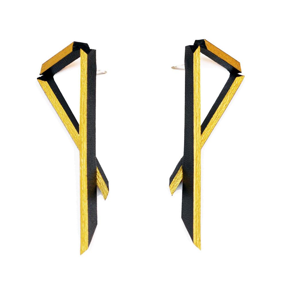 Long Angled Earrings - Black & Gold.jpg