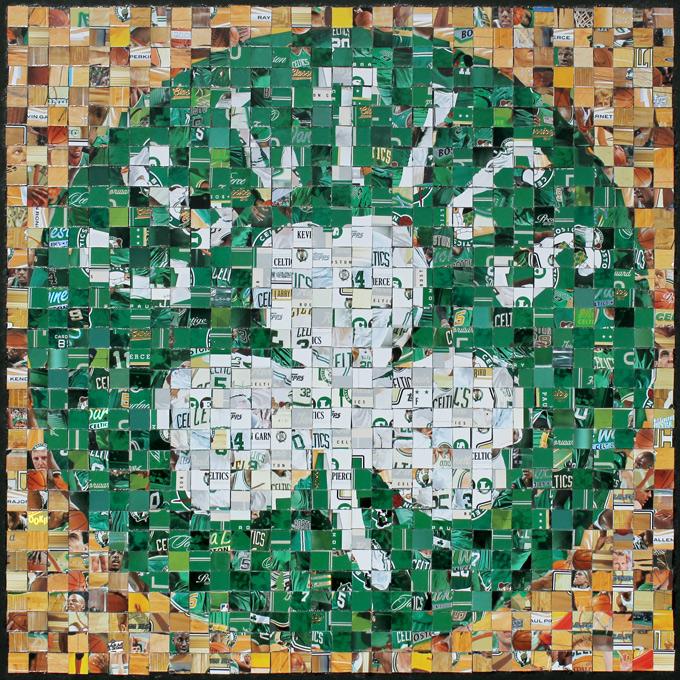 """Boston Celtics Logo - Assorted Basketball Cards (Topps, Fleer, Upper Deck, Panini, Hoops) - 2013 - 13"""" x 13"""", 1 cm tiles"""