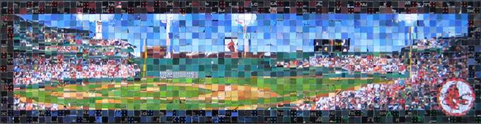 "Fenway Park - 2007 Topps Series 1 - (� The Topps Company, Inc.) - 2011 - 29.5"" x 7.5"", 1 cm & .5 cm tiles"