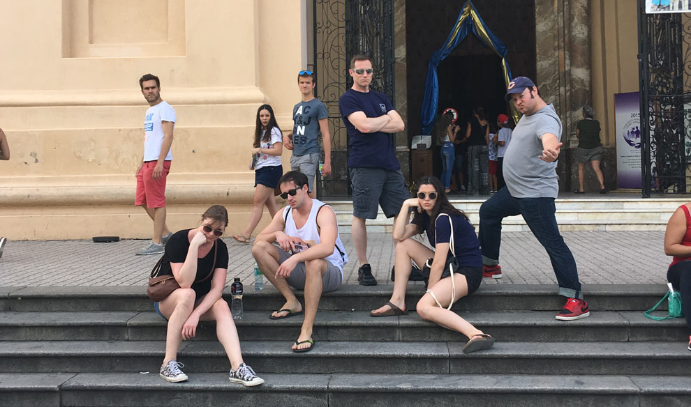 Posing like a boy band in front of the Iglesia Catedral de Córdoba.