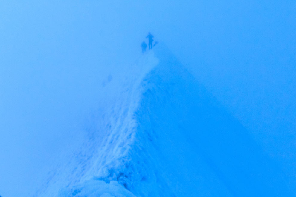 It was so cloudy, but this pic shows just how steep the peak is.