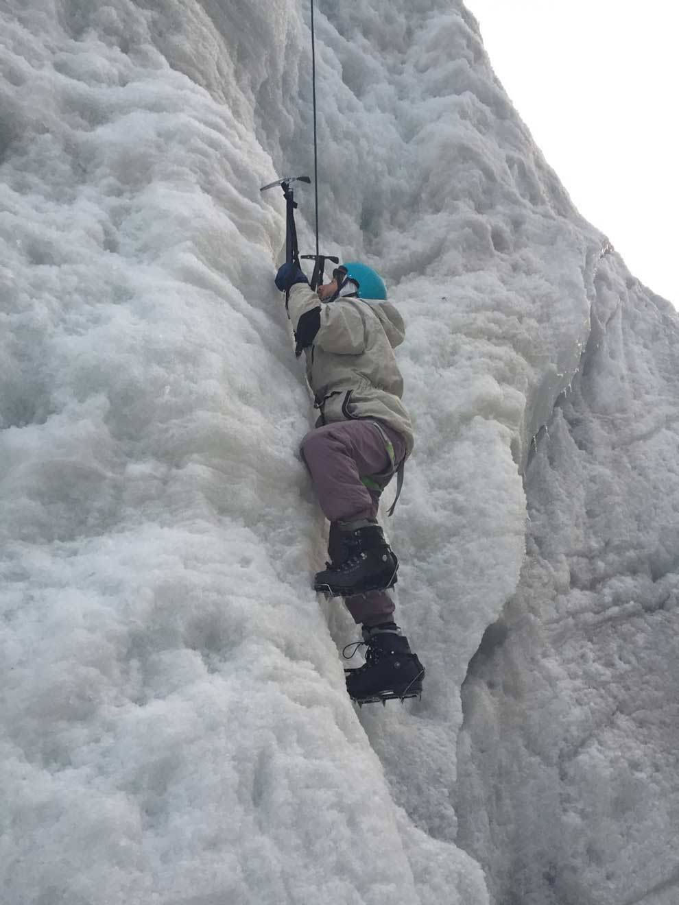 Jonathan was a BOSS on the ice wall!