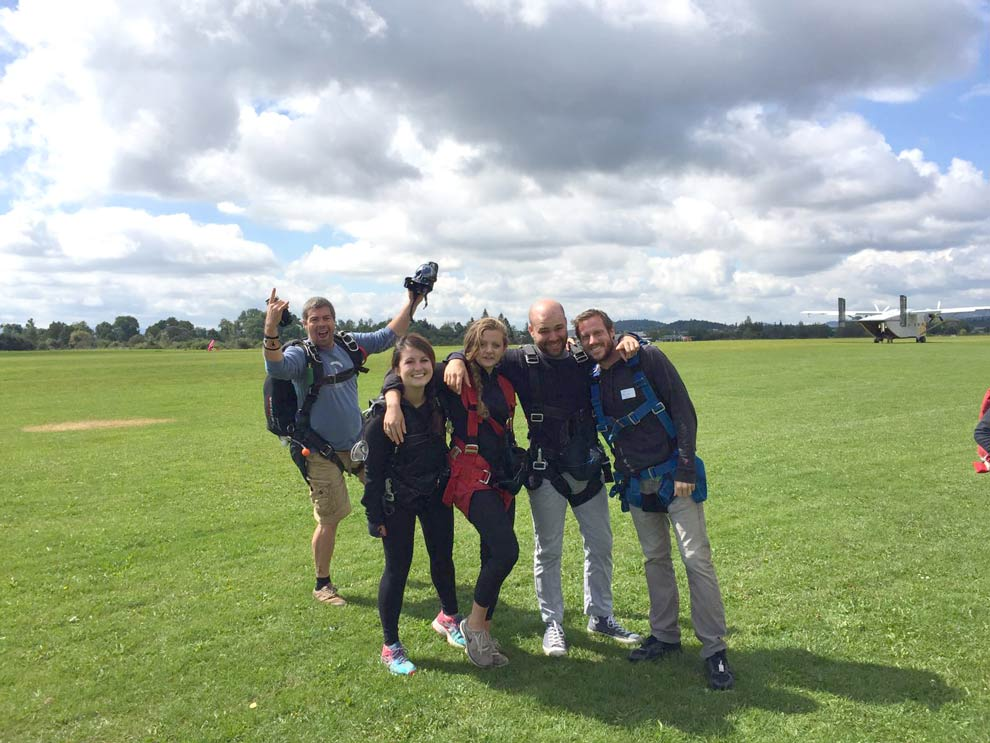 4 of us were on the first plane -- Kelly, Signe, Brecht and I after the jump!