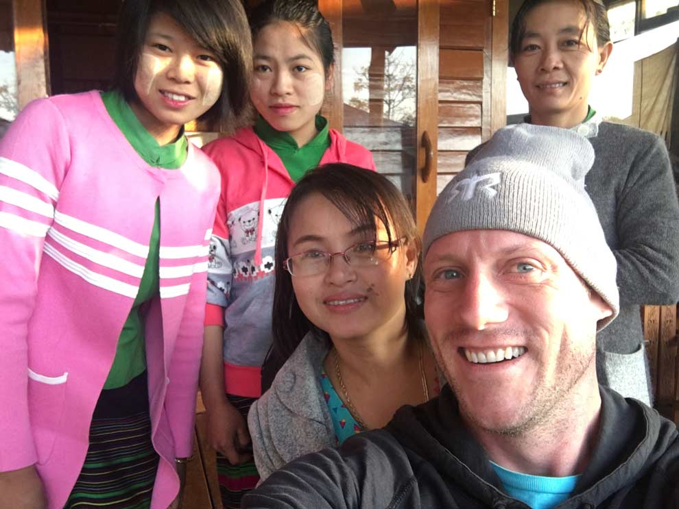 The sweet hotel owner and her daughters in Inle Lake, Myanmar