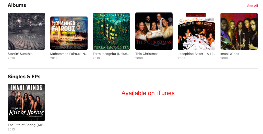 Imani Winds albums on iTunes