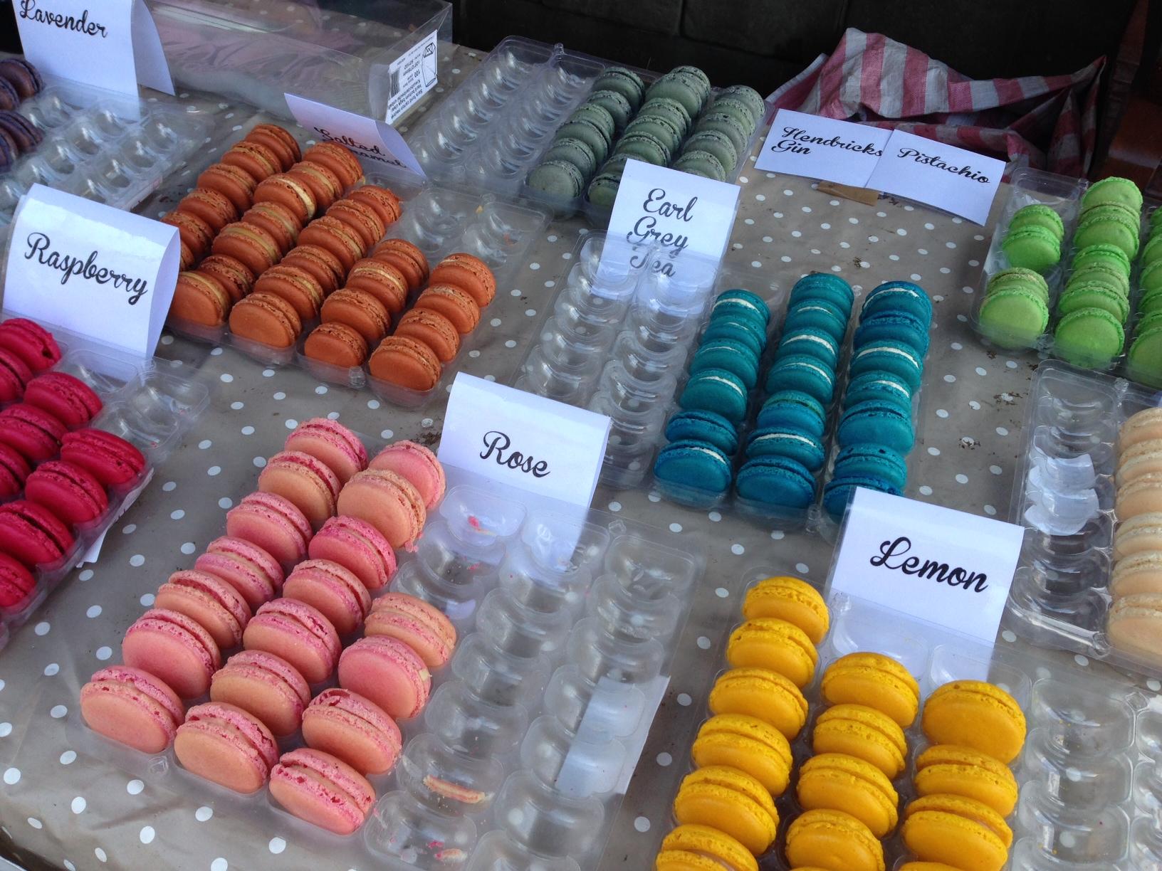 Macaron display at the stall of Mademoiselle Macaron