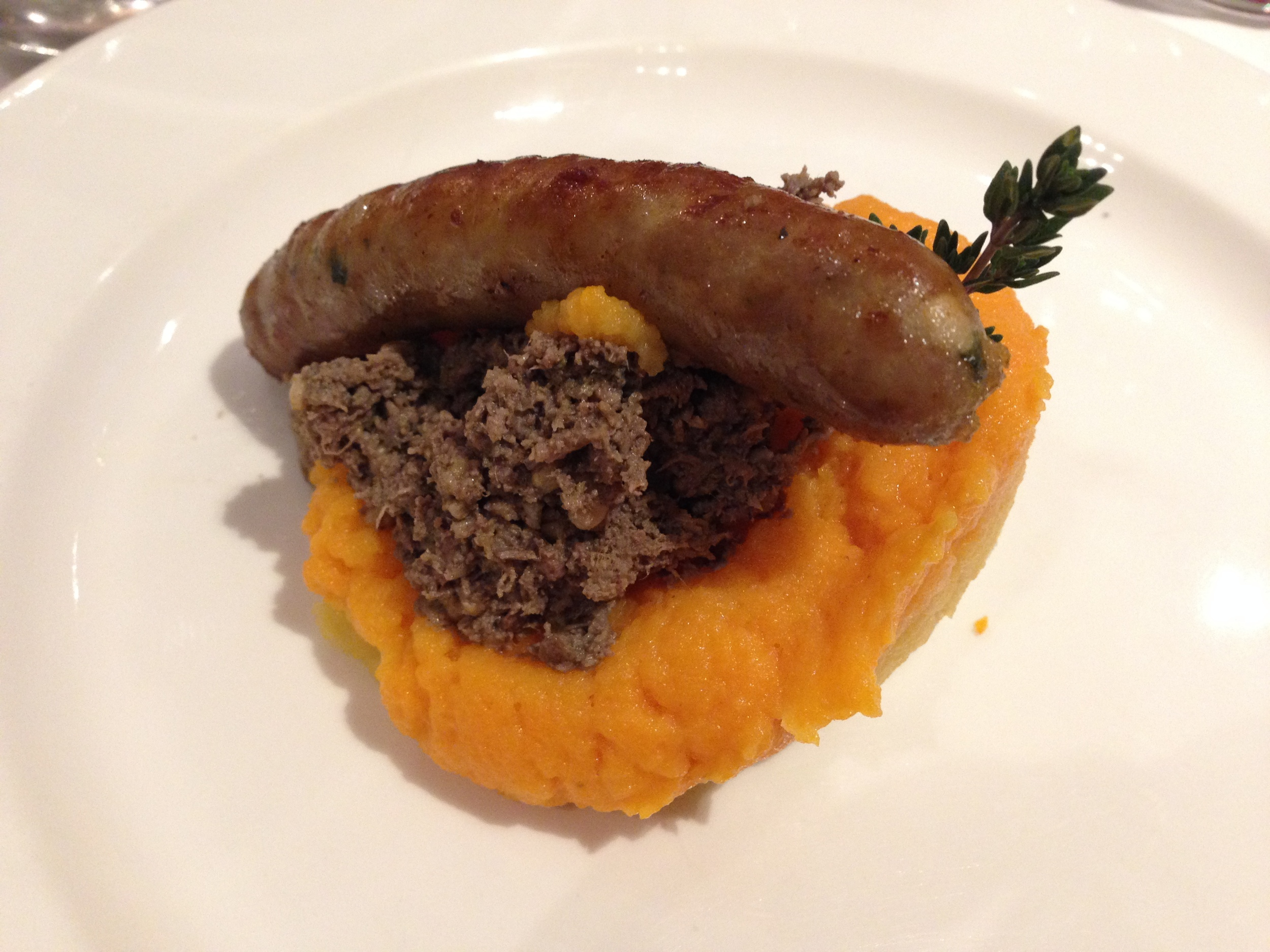 Haggis with Tatties and Neeps with homemade Cumberland sausage served with a Single Malt Islay Batch No. 7 Adelphi (21) years, Liddesdale