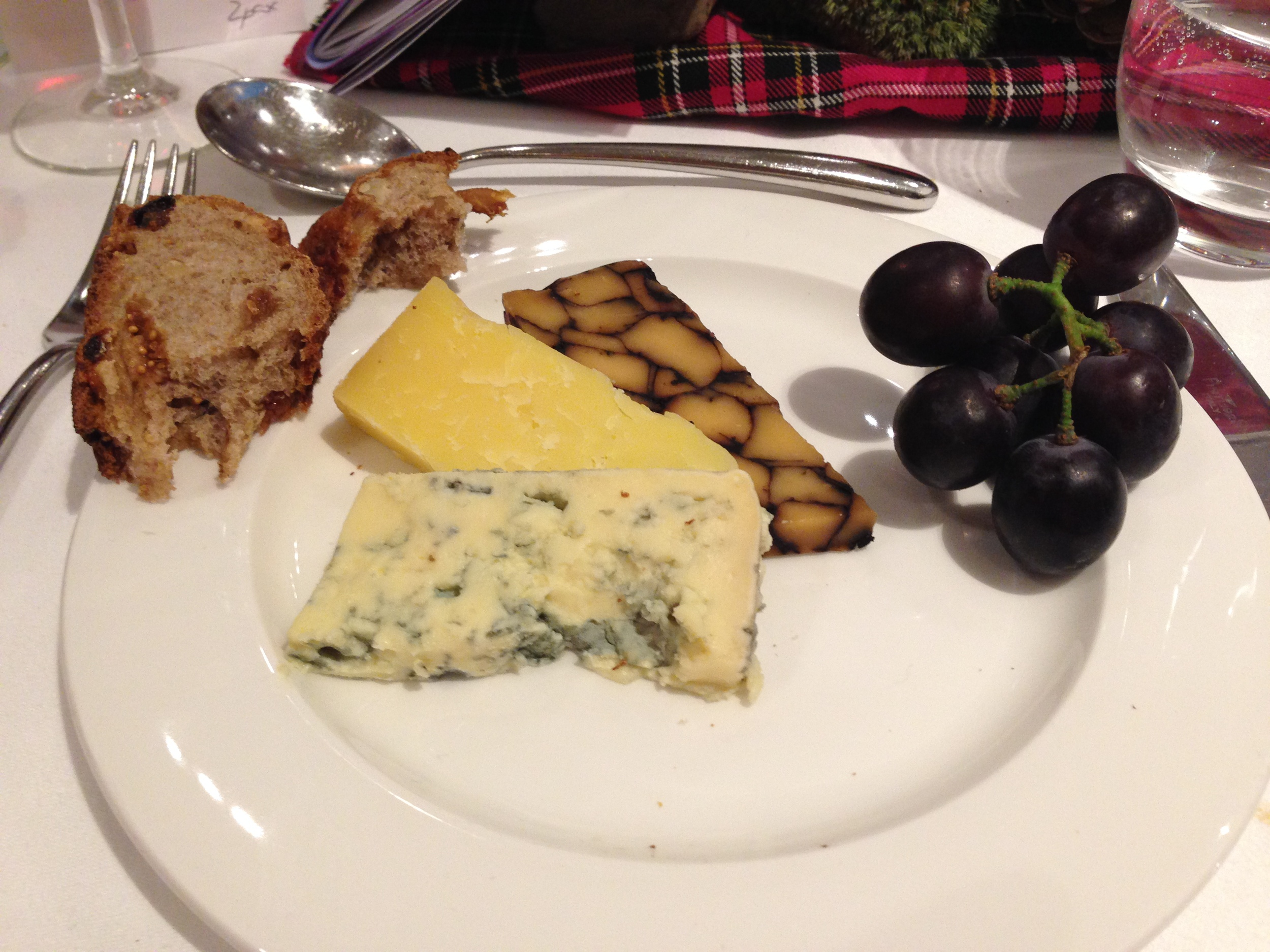 Cheese selection of Teviotdale, Bonchester and Lamark Blue served with Porto Tawny 10 years, Taylor's