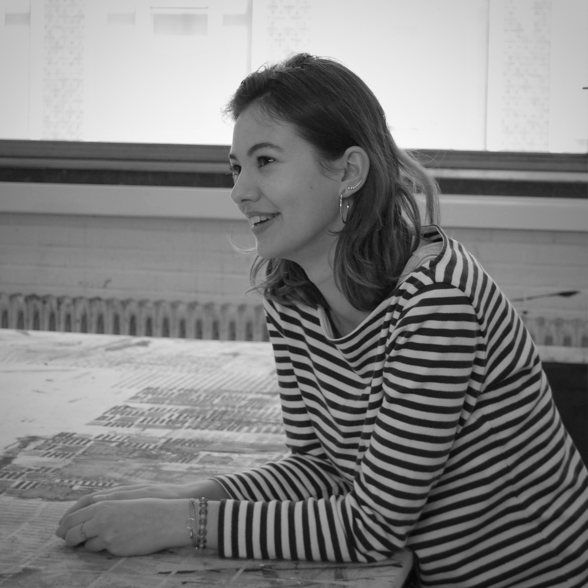 Albane Ceyrat   Intern in 2018,  Ecole Nationale Supérieure des Beaux Arts de Lyon, France   Focussed on developing patterns for wallpaper, thinking about new conceptual furniture design, colour research and weaving samples.  Learned a lot about how a raw idea in a notebook can transform into a designproduct. Loved every day of my internship by starting the day with a ferry ride and biking to the studio. On Focus Friday, we discussed about being an entrepreneur and I discovered new inspiring places in Amsterdam. Nikkie proved me that creation rhymes with meaning, that's why I am currently aspiring to develop my master project around conservation and the story behind textile, from its conception to its conservation.  Instagram @albaneceyrat