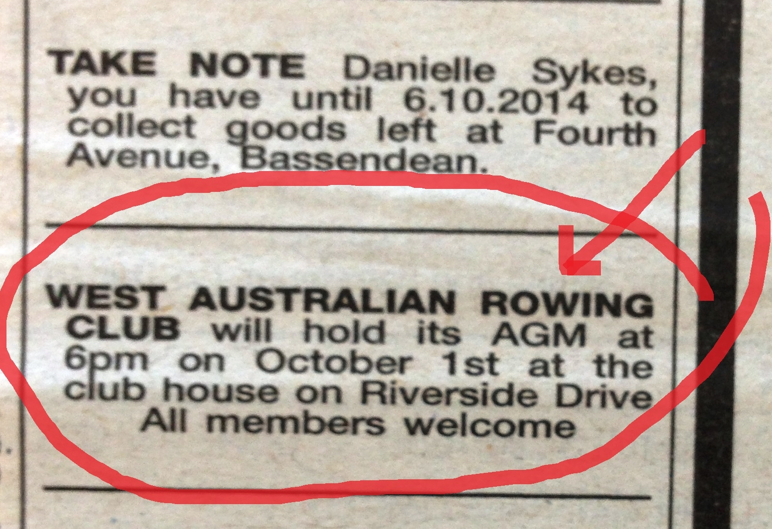 The ad in the West Australian advising of WARC's upcominb AGM