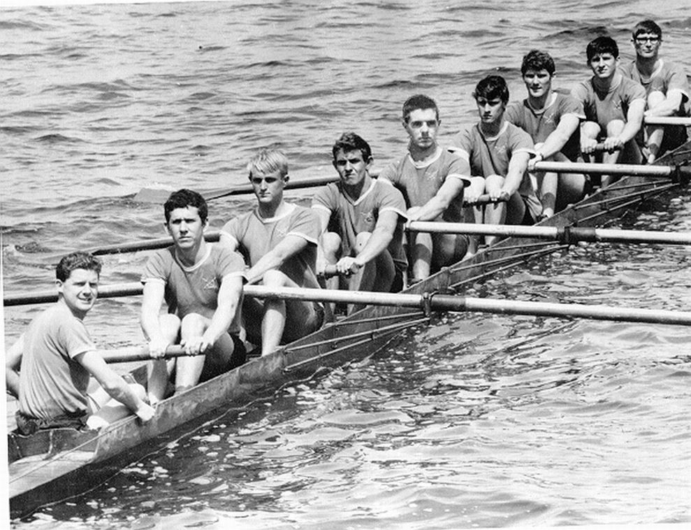 """The 1968 Men's Maiden Eight, as mentioned in """"The Poppet"""" newsletter.Cox was Terry Scook, stroke D Ninham, seven R Spurling, six Jim Booker, five R House (who couldn't make the shoot on the day and his face was photoshopped in!), four R Hambley, three R Webber, two G Power and bow D Hunt. The photograph was sent to WARC by the six seat Jim Booker, who recalls Terry's favourite call was """"Long and drive, six and five"""" which, unfortunately, rhymed and he sounded a little like a broken record."""
