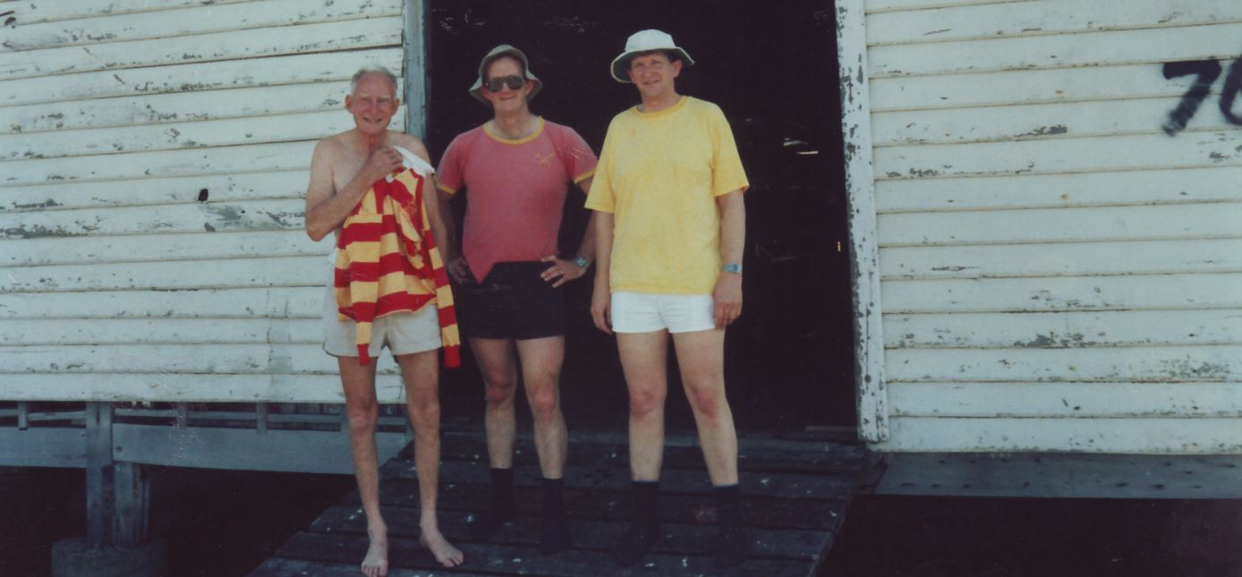 (from left) the mostly naked person is Guy Negus, with Vossy (centre) and Clem Williams in the lemon-coloured shirt.