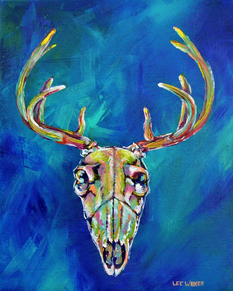 "Deer Skull 8x10"" Acrylic on Canvas    $200.00"