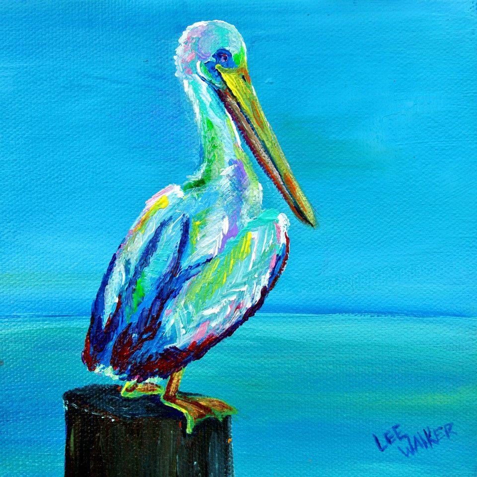 "Pelican 5x5"" Acrylic on Canvas    $85.00"