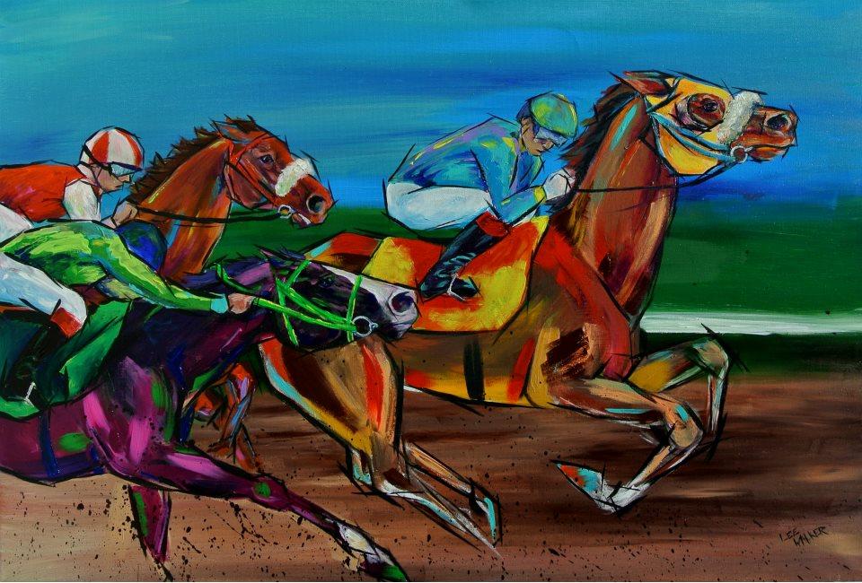 "Home Stretch 24x36"" Acrylic on Canvas    $2100.00"