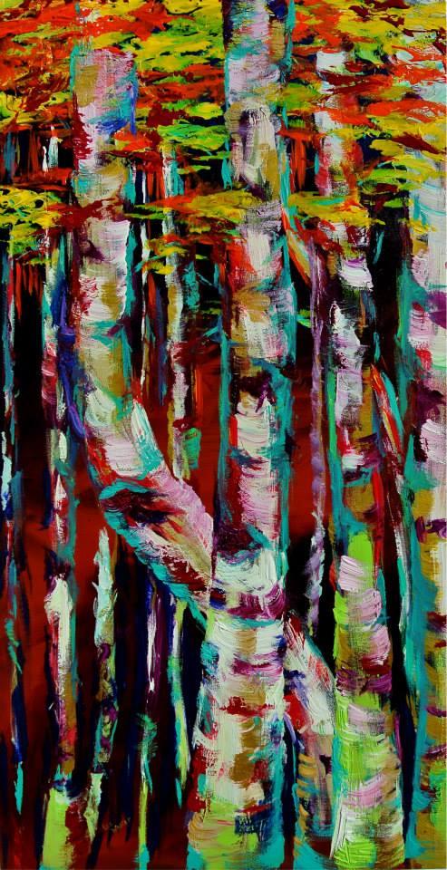 "Aspens 24x48"" Acrylic on Canvas    $1000.00"