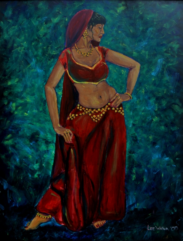 I painted this belly dancer during my senior year of high school. This is the year I discovered how much a background can add to a painting. I love the movement and and poise of this piece. It will always be dear to my heart.