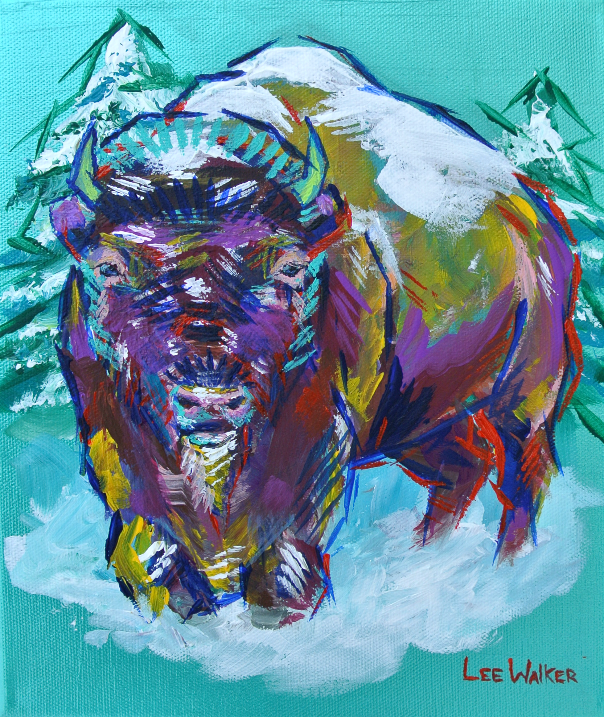 """""""Winter Bison"""" 8x10"""" acrylic on canvas    $200"""