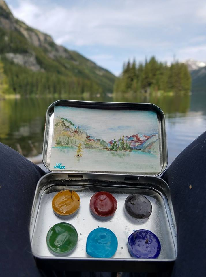 Custom Beartooth Pass Palette made at Gestalt Studios in Powell, Wy. Painting of Mystic Lake