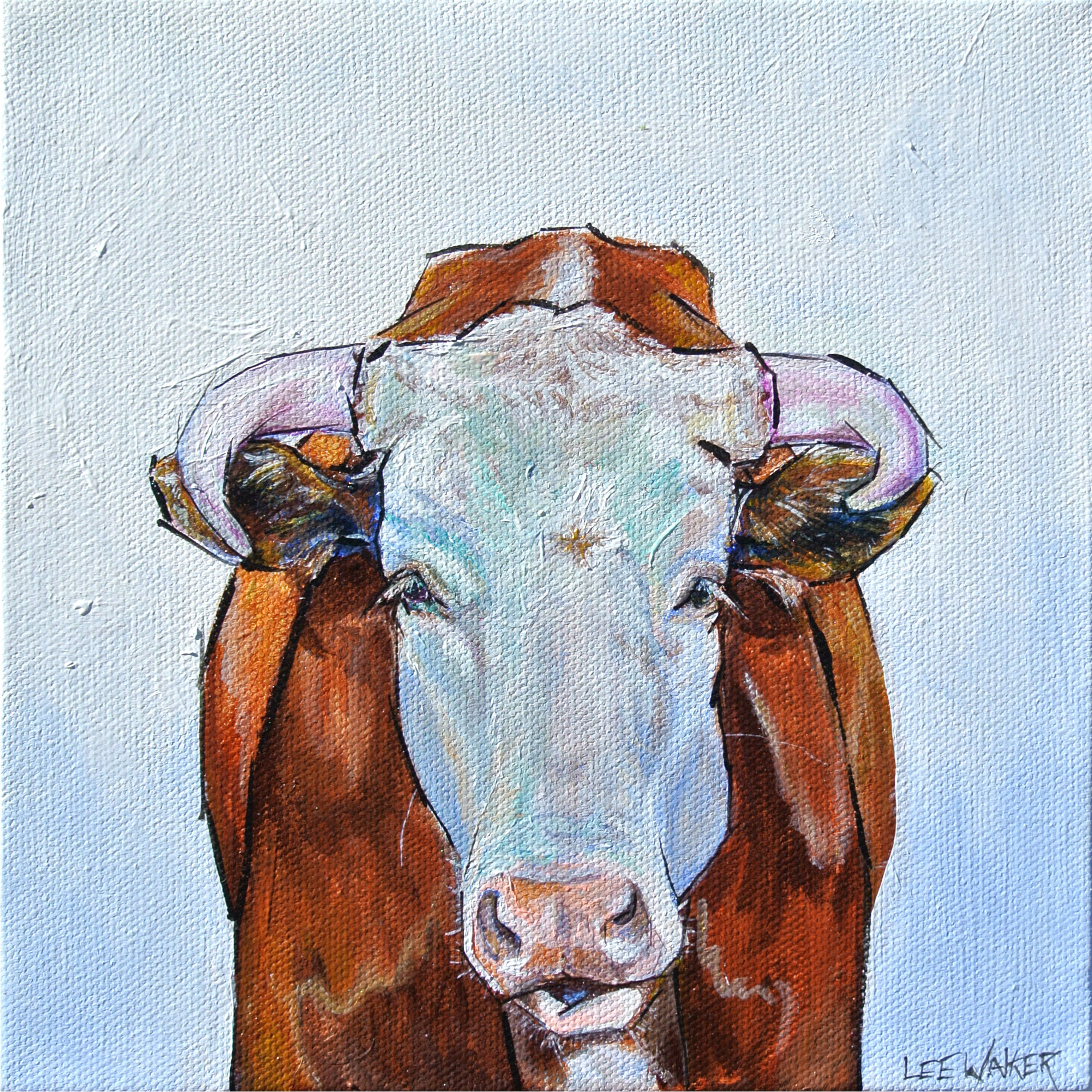 Hereford Cow 8x8""