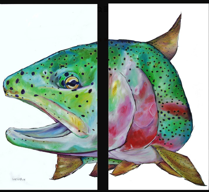 "Rainbow Trout two 24x48"" canvas"