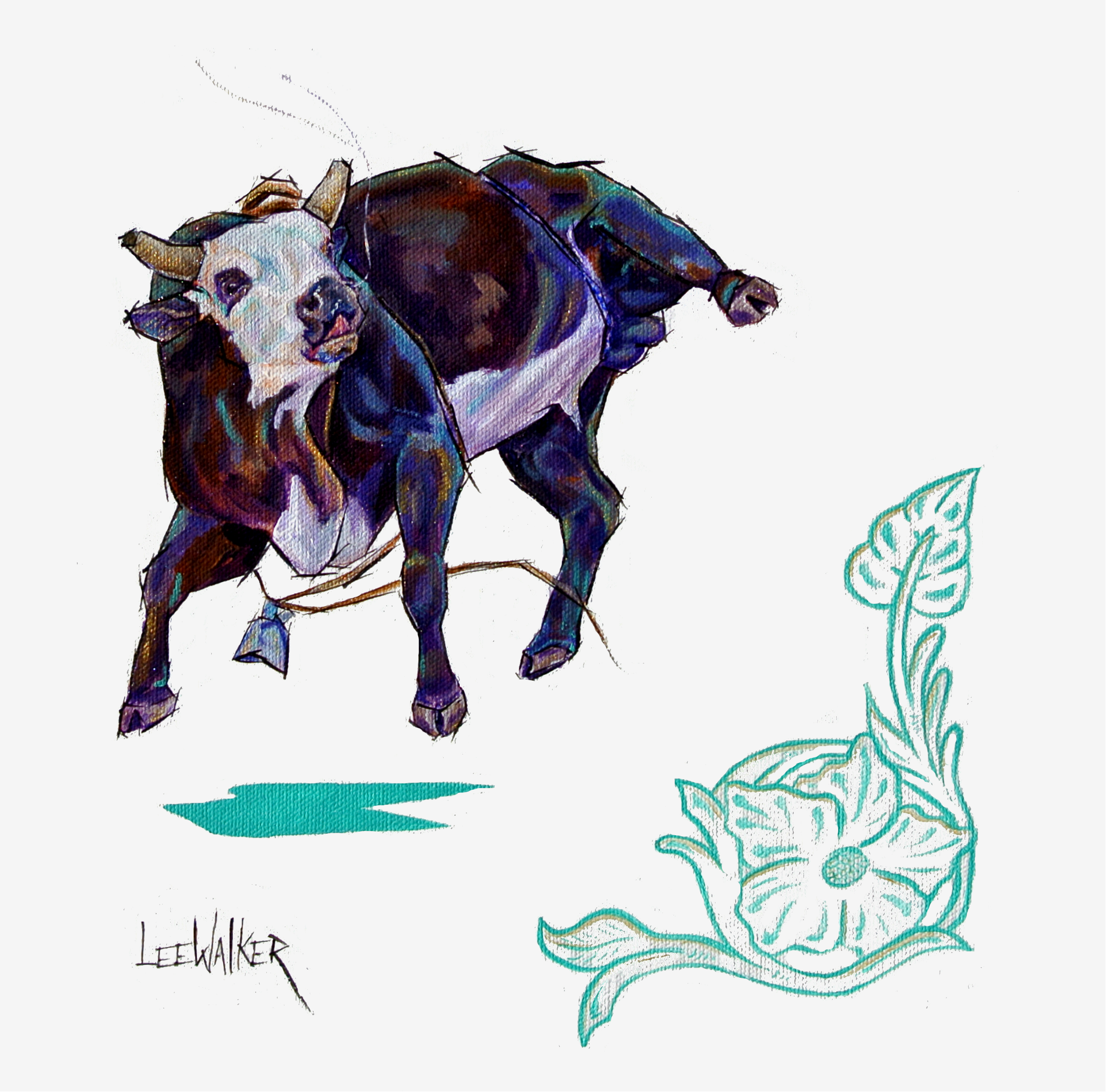 """Flower Bull 2 12x12"""""""