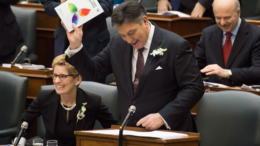 Finance Minister Charles Sousa delivering the 2016 Ontario budget at Queen's Park. (Nathan Denette/CP)