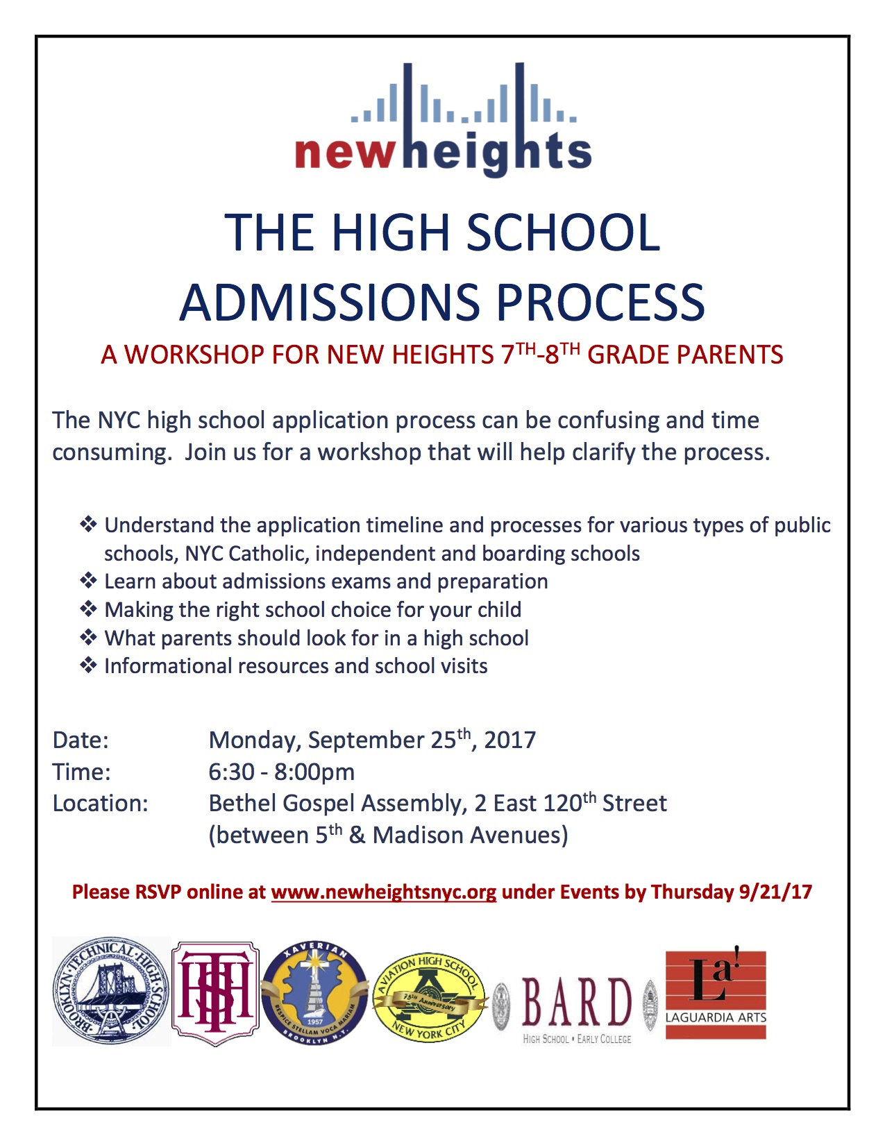 High School Admissions Workshop — New Heights Youth, Inc