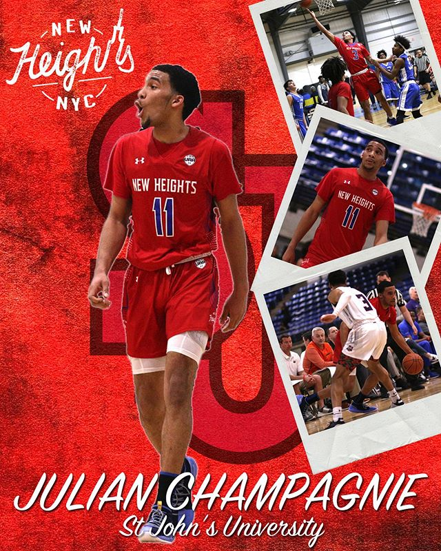 Congratulations to Julian Champagnie for committing to St John's University (@stjohnsbball), go Red Storm! • #NewHeightsNYC | #WeAreNewYorksTeam