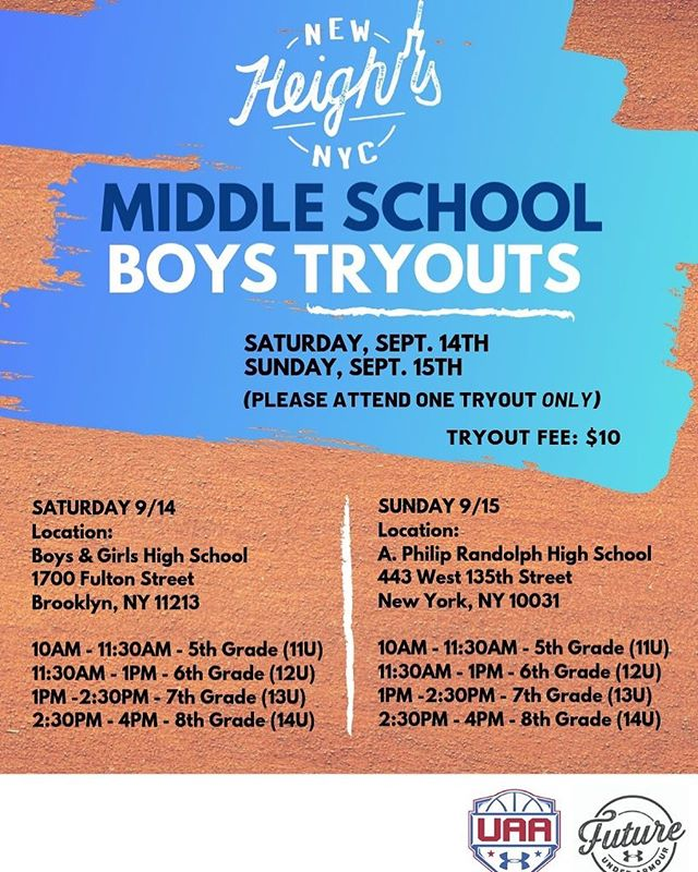 We will be holding tryouts for middle school boys on Saturday (9/14) and Sunday (9/15). Please note times and locations and choose one to attend. Don't miss your opportunity!  #NewHeightsNYC #CollegeBound
