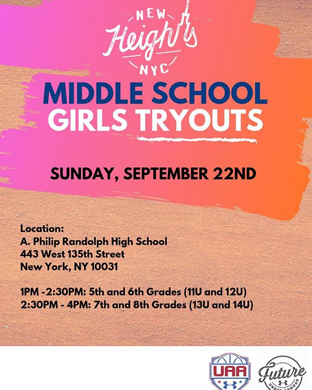 We will be hosting middle school girls tryouts on Sunday, September 22nd. Please take note of appropriate time for your age group. Don't miss your opportunity! #NewHeightsNYC #CollegeBound