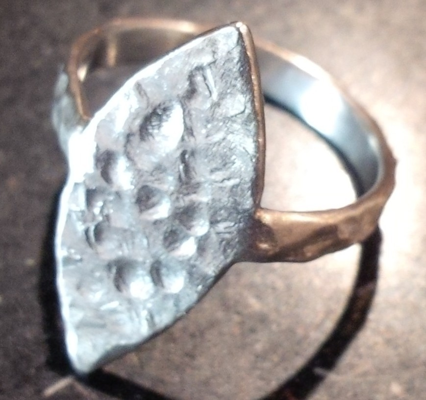 Textured silver shield ring -  BUY