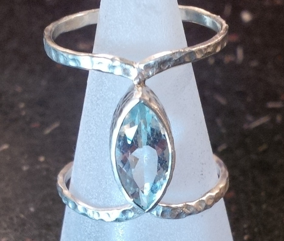 Textured silver ring with central marquise cut aquamarine -  BUY