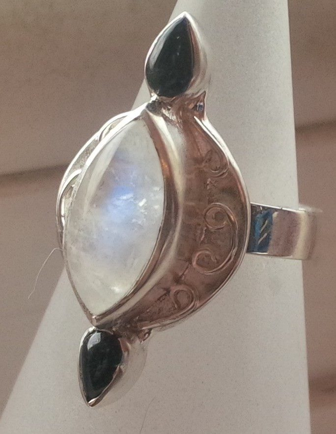 Silver ring with marquise cut moonstone and onyx and wirework detail - SOLD
